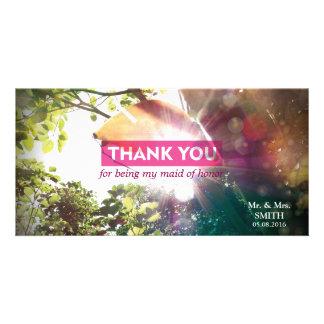 Modern Sunshine Leaf Bridesmaid Thank You Card