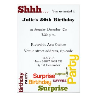 "Modern Surprise Birthday Party Invitation 5"" X 7"" Invitation Card"