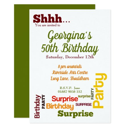 Modern Surprise Birthday Party Invitation