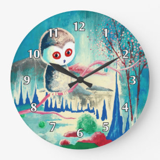 Modern Surrealistic Owl Large Clock