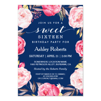 Modern Sweet 16 Birthday Navy Blue Floral Wreath Card