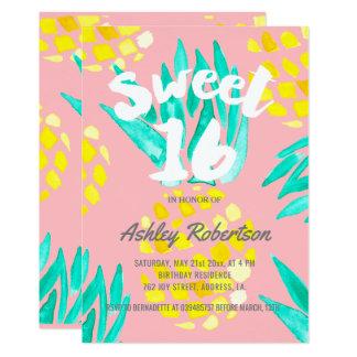Modern Sweet 16 spring watercolor pineapples Card