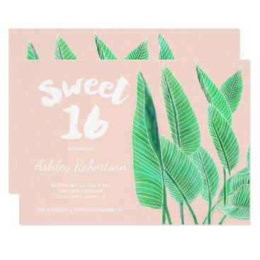 Beach Themed Modern sweet 16 watercolor tropical leaf pink card