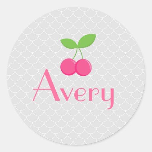 Modern & Sweet Cherry Sticker - Pink and grey