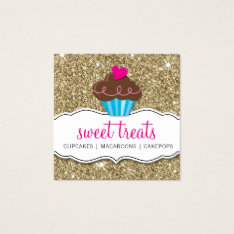 Modern Sweet Cute Cupcake Bakery Pink Gold Glitter Square Business Card at Zazzle