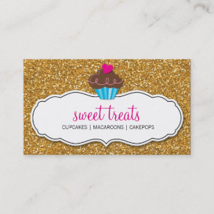 Sweets business cards templates zazzle modern sweet cute cupcake pink gold glitter business card colourmoves