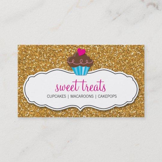 Modern sweet cute cupcake pink gold glitter business card zazzle modern sweet cute cupcake pink gold glitter business card colourmoves