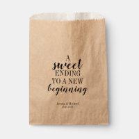 Modern Sweet Ending to a New Beginning Wedding Favor Bag