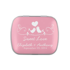 Modern Sweet Love Birds Wedding Favor Candy Jelly Belly Candy Tin at Zazzle