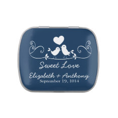 Modern Sweet Love Birds Wedding Favor Candy Jelly Belly Tin at Zazzle