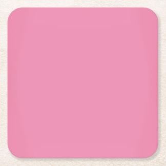 Modern Sweet Pink Customizable Square Paper Coaster