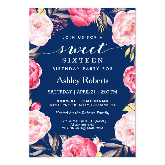 Modern Sweet Sixteen Navy Blue Floral Wreath Card (front side)