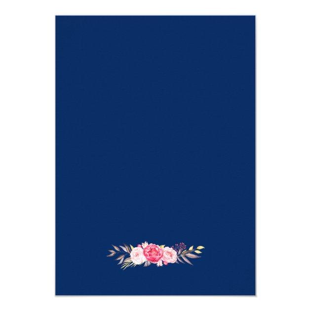 Modern Sweet Sixteen Navy Blue Floral Wreath Card (back side)