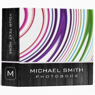 Modern Swirl Abstract Photo Books Wood Look 3 Ring Binder
