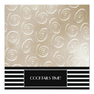 Modern swirl and stripes cocktail party invitation