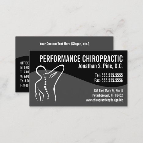 Modern Swirl Back Spine Logo Chiropractor Business Business Card