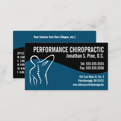 Modern Swirl Back Spine Logo Chiropractor Business Card