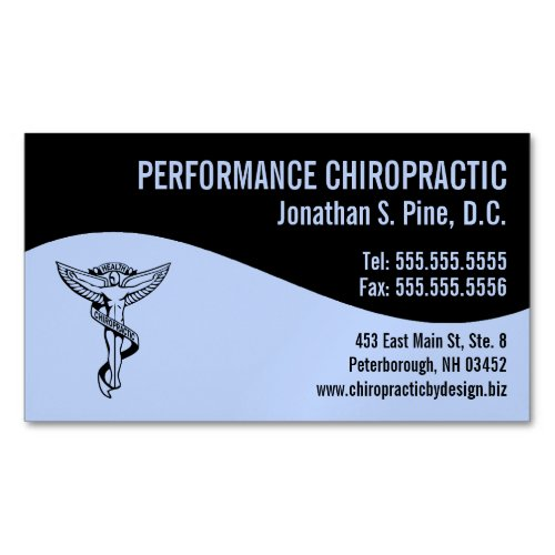 Modern Swirl Chiro Angel Emblem Chiropractor Business Card Magnet