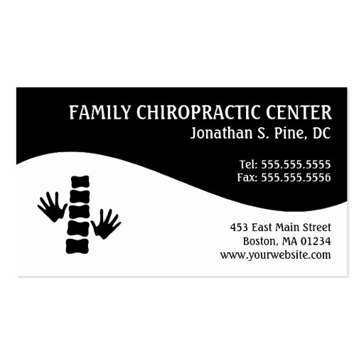 Modern swirl family chiropractic business cards zazzle for Family business cards
