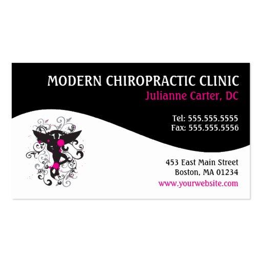 modern swirl feminine chiropractic business cards zazzle