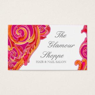Modern Swirl Flourish Business Card Tangerine Pink