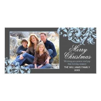 Modern Swirl Flourish Christmas Gray and Blue Card