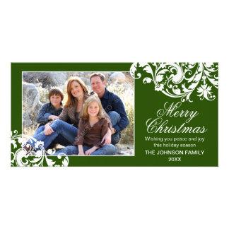 Modern Swirl Flourish Christmas Green and White Card