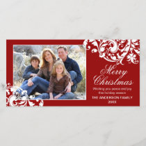 Modern Swirl Flourish Christmas Red and White Holiday Card