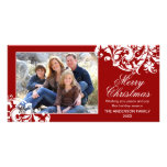 Modern Swirl Flourish Christmas Red and White Photo Card