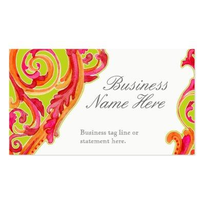 Modern Swirl Flourish Heart Tangerine Hot Pink Business Card Template
