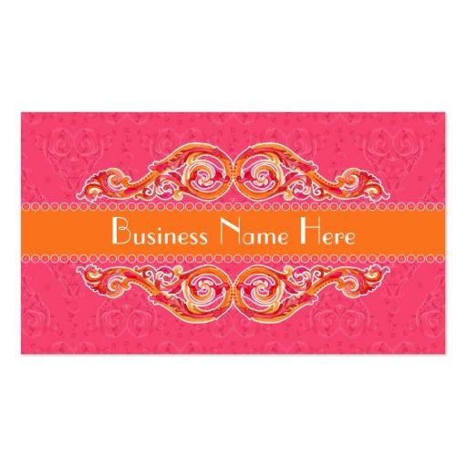 Modern Swirl Flourish Heart Tangerine Hot Pink Business Cards