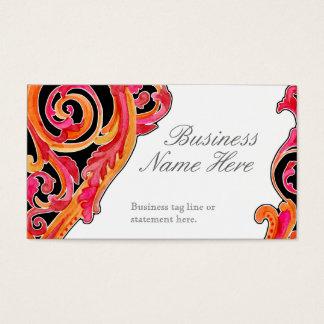 Modern Swirl Flourish Heart Tangerine Hot Pink Business Card