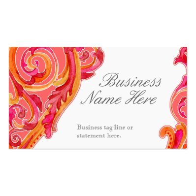 Modern Swirl Flourish Heart Tangerine Hot Pink Business Card Templates