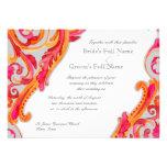 Modern Swirl Flourish Heart Tangerine Hot Pink Invites