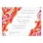Modern Swirl Flourish Heart Tangerine Hot Pink Personalized Invitation