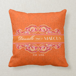 Modern Swirl Flourish Heart Tangerine Hot Pink Pillows
