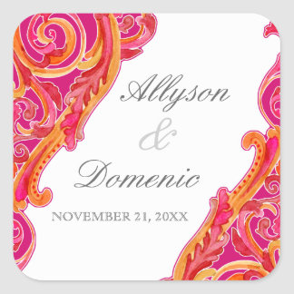 Modern Swirl Flourish Heart Tangerine Hot Pink Square Sticker