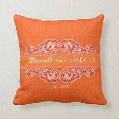 Modern Swirl Flourish Heart Tangerine Hot Pink Throw Pillow