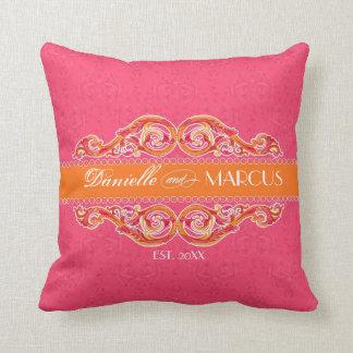 Modern Swirl Flourish Heart Tangerine Hot Pink Throw Pillows