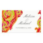 Modern Swirl Flourish Heart Tangerine Lime Green Business Card Template