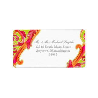 Modern Swirl Flourish Heart Tangerine Lime Green Custom Address Label