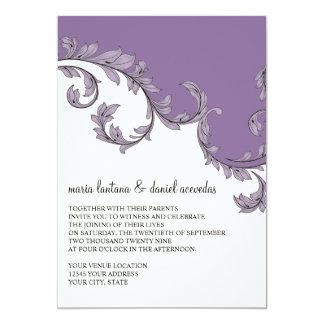 Modern Swirl Flourish Scroll Vintage Leaf Pattern 5x7 Paper Invitation Card