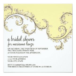 Modern Swirl Flourish Scroll Vintage Leaf Pattern Invitation