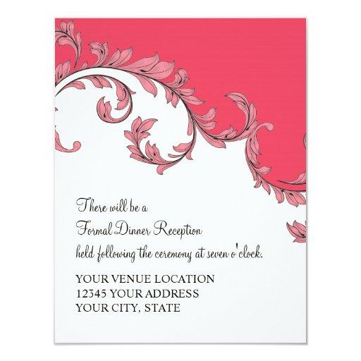 Modern Swirl Flourish Scroll Vintage Leaf Pattern 4.25x5.5 Paper Invitation Card