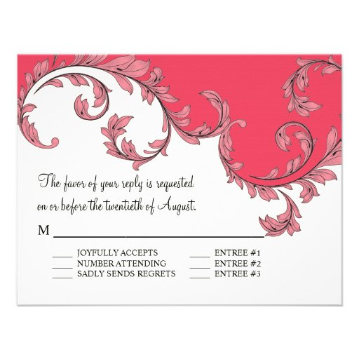 Modern Swirl Flourish Scroll Vintage Leaf Pattern Personalized Announcements