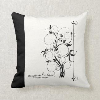 Modern Swirl Flourish Scroll Vintage Leaf Pattern Pillow