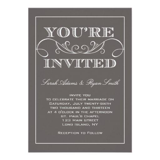 Modern Swirl Grey Wedding Invitation