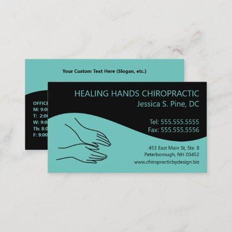 Modern Swirl Hands Logo Chiropractor Business Card