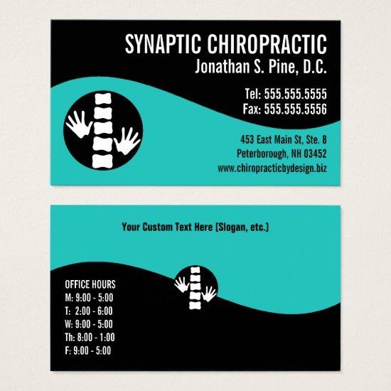 Modern Swirl Hands Spine Office Hours Chiropractor Business Card