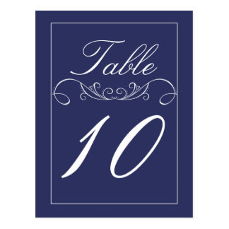 Modern Swirl Navy Wedding Table Number Cards